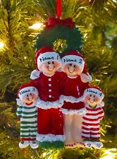 Christmas Pajama Family Of 4 Personalized Christmas Ornaments