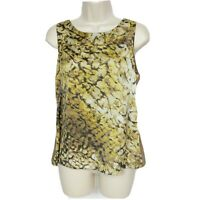 Ann Taylor Womens Petites Tank Top Size MP Brown Gold Abstract Scoop Neck