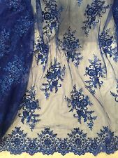 """ROYAL MESH W/EMBROIDERY  SEQUINS PEARL BEADS BRIDAL LACE FABRIC 50"""" WIDE 1 YARD"""