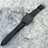 BLACK GENUINE LEATHER Crocodile Croc Strap Band for Apple Watch iWatch 38mm/42mm
