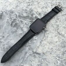BLACK GENUINE LEATHER Crocodile Strap Band for Apple Watch Series 5,4,3,2,1