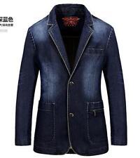 Mens Vintage Denim jeans suit jacket denim coat outwear overcoat