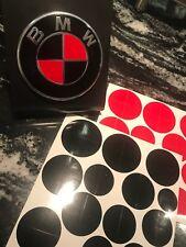 BLACK and RED BMW Emblem Overlay Sticker Fits Hood Trunk Wheels Steering Wheel