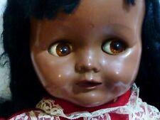 """RARE VINTAGE Coffee brown PEDIGREE doll 40cm 16"""" SLEEPER TALKER WALKER c1955"""