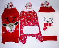 Lot of 3 New with Tag Pet Central Dog Outfits Size Small Sweaters & Pajamas