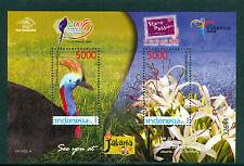 Indonesia 2008, Taipei Stamp Exhibition Casuari Bird Flower, Souvenir Sheet, MNH