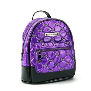 Rock Rebel Purple Glitter Bats Gothic Mini Backpack HB83-DARKPURPLEGLITTERBATS