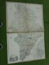 100% ORIGINAL LARGE SCALE LANARKSHIRE MAPS X2 BY K JOHNSTON C1867 GLASGOW