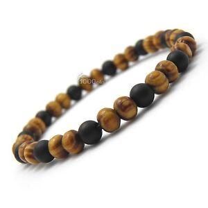 New Mode Bracelet-bijoux homme/femme perles naturelle bois 6mm Pierre de gemmes