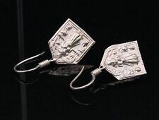Silver Earring Hoop Jewelry Te13 Rajasthani Vintage Antique Tribal Bheruji Deity