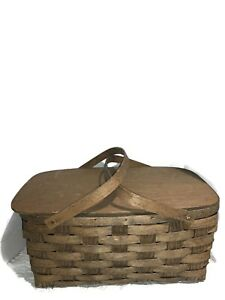 Vintage Imported Lancers Wine Basket Wooden Lid Liner and Handles