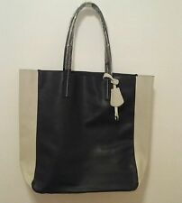 ESTEE LAUDER TOTE BAG Faux Leather Black Ivory inset Keychain NWOT in plastic