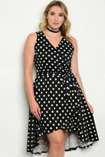 NEW..Beautiful Plus Size Polka Dot Hi-Lo Hemline Faux Wrap Dress..SZ14/XL