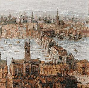 Woven Tapestry Panel - Old London Bridge 24 x 24cm approx