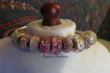 Chamilia Authentic Sterling Flex Bangle w/Stoppers & 9 Pink Glass&Crystal Beads