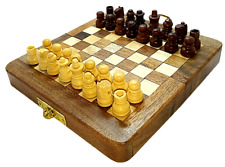 "Mini Wooden Chess 5"" - Magnetic KIDS Adult Folding Handmade Antique Style Wood"