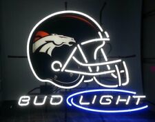 "New ListingNew Bud Light Denver Broncos Helmet Neon Light Sign Lamp 20""x16"" Beer Bar"
