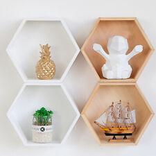 Wood Organizer Nordic Style Wall Mounted Storage Shelf Decorative Hexagon Shaped