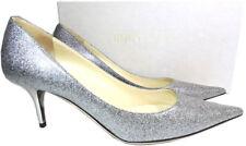 Jimmy Choo Aurora Silver Glitter Pump Pointy Toe Low Kitten Heel Shoe 38.5