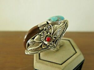 110 cts Men's Vintage Turquoise Ring Silver 925 Natural Red coral Huge sz 11
