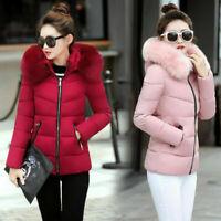Winter Women's Down Cotton Parka Short Fur Collar Hooded Coat Quilted Jacket UK