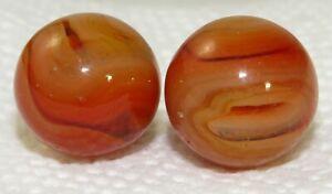 2 Vtg Orange Amber Christensen Agate slag swirl PEEWEE 8/16 Collector toy Marble