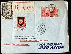 Algeria 1949 Letter Philippeville Wilmington Envelope 165CA116