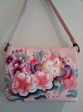 "Anuschka Hand Painted Leather Zip Top ""Studded"" Shoulder Bag, Vintage Garden"
