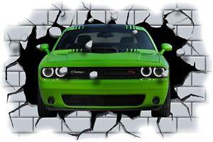 Huge 3D Dodge Challenger Crashing through wall View Sticker Mural Decal 89
