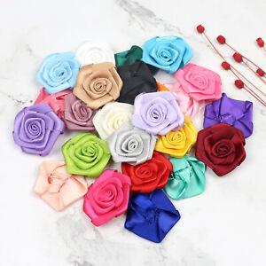 30X Satin Ribbon Rose Flower Sewing Appliques 40mm Sewing/Trim/Bow Wedding Decor