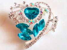VALENTINE'S HEART BROOCH!Sparkling Blue & Clear Crystal Pin.Silver Tone Setting.