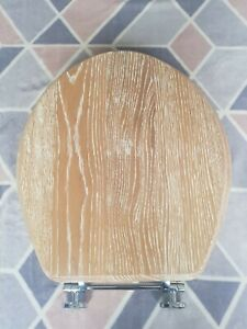 Solid wood- LIMED OAK- toilet seat with chrome hinges FREE UK TRACKED POSTAGE!