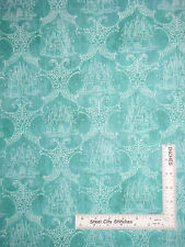 Girl Royal Pincess Castle Aqua Cotton Fabric Quilting Treasures 24518-Q Yard