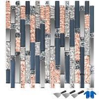 6 pcs Mosaic Glass Tile Interlocking Bath Kitchen Backsplash Tile Home Decor