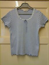 WOMENS STUNNING BLUE/WHITE STRIPED TOP  SIZE S ( 10-12 )    OFFERS  WELCOME.