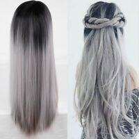 2020 Women Synthetic Long Straight Ombre Gray Wig Cosplay Party Wig Full Wigs US