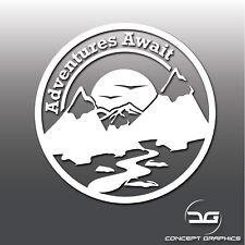 Adventure Await Hiking Mountain Car Caravan Motorhome Bumper Vinyl Decal Sticker