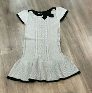 NWT Gymboree Girls' Ruffled Silver Sparkle Cable Knit Sweater Dress, Size 10