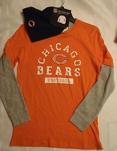 Boys NFL Chicago Bears L or XL Long Sleeve Orange Shirt Navy Winter Hat NWT