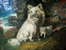 Antique O/C Folk Art Painting American Eskimo Dogs Mother Puppy Signed E. Parry