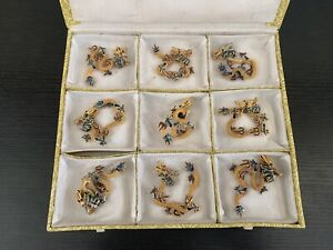 NEW Stunning Gold Tone Chinese Dragon Pendants Enamel Lot Of 9 Different Designs