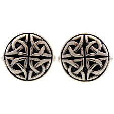 Sterling Silver Oxidised Celtic Circle Cufflinks with Gift Box