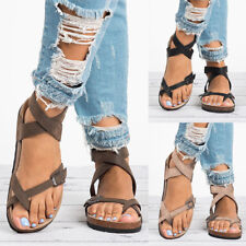 Women Gladiator Sandals Flip Flop Straps T-Strap Thong Beach Slippers Flat Shoes