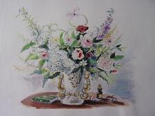 """DIGNIMONT / LITHOGRAPHIE signée """" Bouquet romantique """"  38x28 1946"""