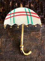 """Cute Vintage 1970s Mother Of Pearl Red Green Umbrella Brooch Pin ~1.75"""""""