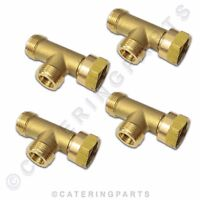 4 x W20 LP LPG GAS BOTTLE HOSE 3 WAY TEE CONNECTOR T PIECE WITH ONE WAY VALVES