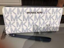 Michael Kors White Navy PVC MK Jet Set Zip Travel CONTINENTAL Wallet Wristlet