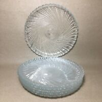 "Set of 6 Arcoroc SEABREEZE France 7 3/8"" Swirl Glass Luncheon Salad Plates"