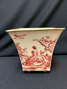 Toile Metal Planter Ball Feet Vintage Southern Living 4 scenes Marked on Bottom