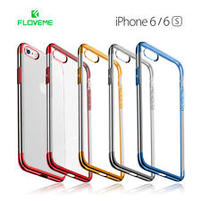 Funda iPhone 6/6S silicona transparente con bordes color metalizado FLOVEME